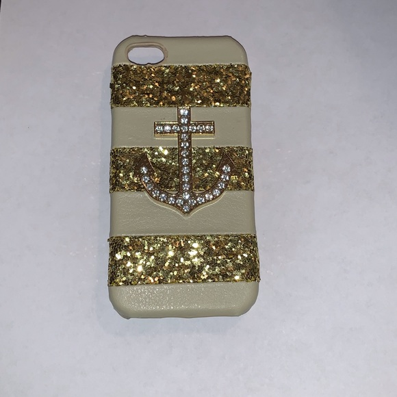 Bling Silver /& Blue Rhinestone Stripes with Gold Rhinestone Anchor iPhone 5 or 5S or SE Cell Case